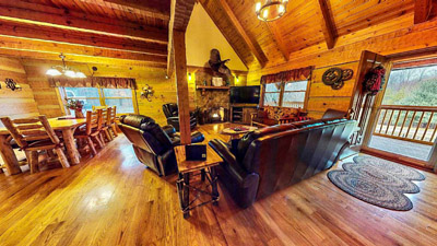Lonesome Holler Living Room - Open area Living room enjoy the gas fireplace