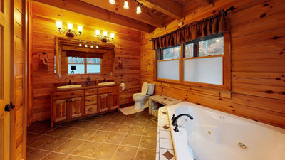 Honeysuckle Ridge Jet Tub Bathroom - Main Floor Jacuzzi Jet Tub and shower