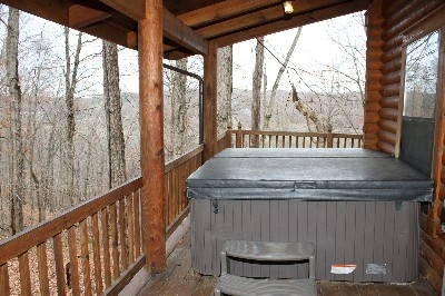 Hot Tub - Hot Tub is located on a covered porch.