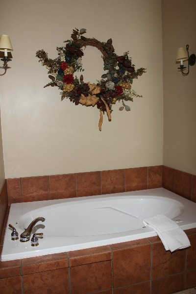 Jacuzzi Tub - Jacuzzi tub is located in open floor plan with view of wood burning fireplace.