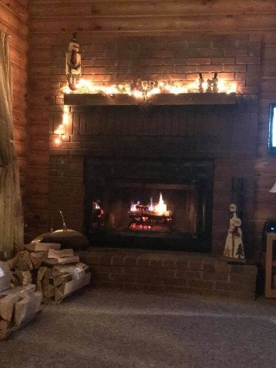 Wood Burning Fireplace - Decorated for Christmas! Wood Burning FP.