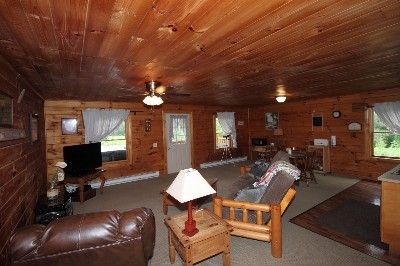 Living room at Sky View Cabin - Large TV with satellite, futon fold down for extra guests