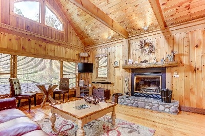Boat House Living room - Featuring wood burning fireplace! See more at Cherryridgeretreat.com
