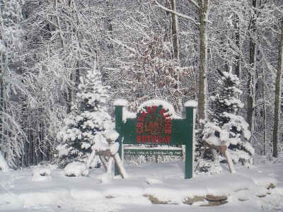 Snowy Entry Sign - Snowy winter day at Cherry Ridge Retreat! See more at Cherryridgeretreat.com