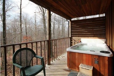 Private hot tub - Covered porch and secluded hot tub
