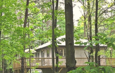 Photo 626_1556.jpg - Surrounded by woods, the two bedroom stucco cabin is designed with no stairs to climb.  The raised deck is 14 feet off the ground and fully enclosed with a safety railing.  Walk outside onto the deck and into the trees!