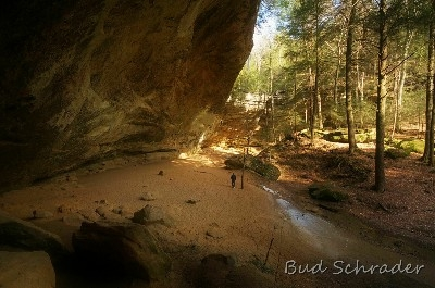 Lone Hiker - I normally try not to get people in my shots, but I really like the mood this projects. Ash Cave