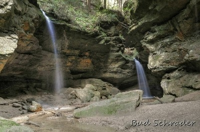 Double Falls At Conkles Hollow - First time I ever caught this much flow. Normally no water on the left falls.