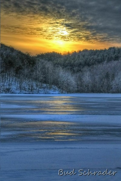 Sunset Over Ice - Following a snow and ice storm, beauty that man can not create.